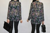 blouse,clothes,zara,chiffon,black,flowers,fashion,bag