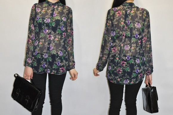 blouse flowers fashion black clothes zara chiffon bag