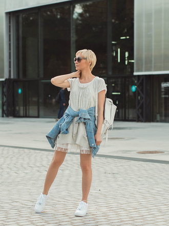 gvozdishe blogger dress jacket bag sunglasses shoes back to school grey dress short sleeve white backpack white sneakers sneakers denim jacket blue jacket