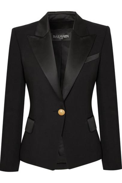 Balmain blazer black wool satin jacket