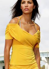 blouse,top,shirt,halter top,ruched arms,short sleeve,cross over top,v neck,yellow,yellow top,other colours,off the shoulder