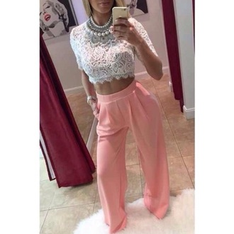 pants coral pants loose fit fashion blouse