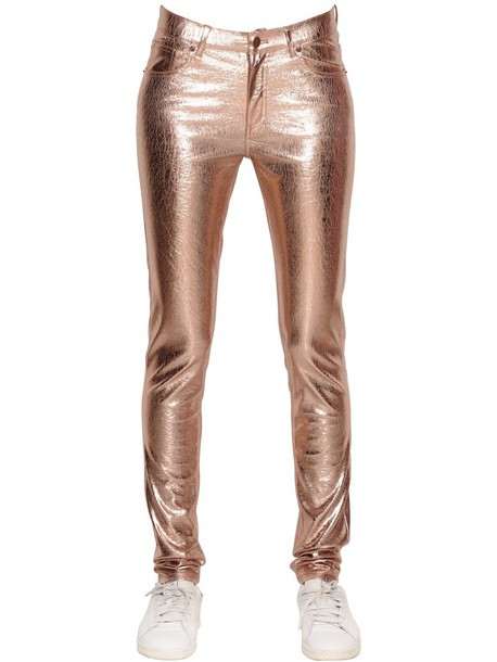MES DEMOISELLES Glitter Crackled Laminated Stretch Pants in gold