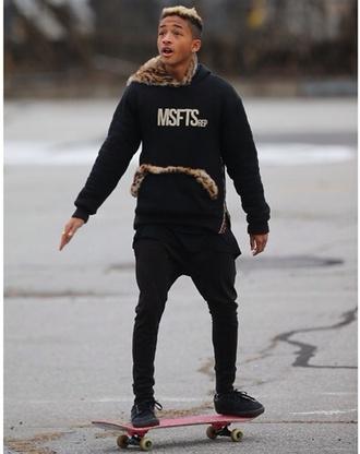 sweater jaden smith msfts rep red leopard print cheetah is the new black hoodie fur zip inspire menswear