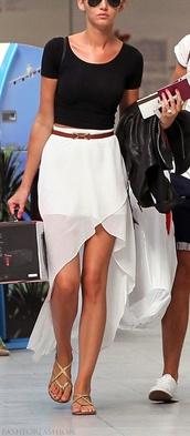 skirt,tulip high-low skirt,high low skirt,chiffon,chiffon skirt,eleanor calder,white skirt,brown belt,black crop top,belt,blouse,shoes