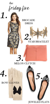 m loves m,blogger,jewels,gloves,clutch,bracelets,peach,jacquard,dress