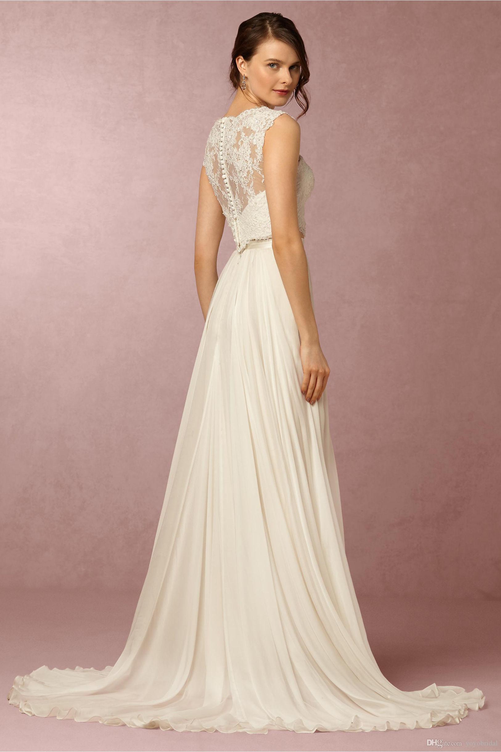 Two pieces wedding dresses chiffon wedding dress cheap 3d for Cheap chiffon wedding dresses