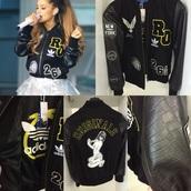 jacket,adidas by rita ora,rita ora,bomber jacket,black bomber jacket,adidas originals,adidas,limit edition