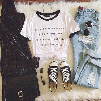 shirt grunge soft grunge aesthetic tumblr pale pale aesthetic aesthetic grunge fairies unicorn mermaid moon jeans blouse bag sunglasses make-up jewels