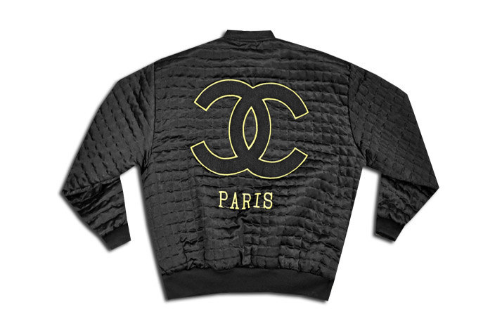 Chanel quilted caviar embroidered zip bomber jacket