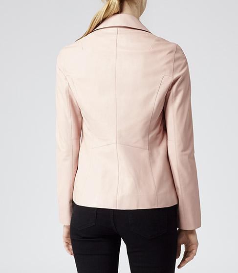 Fray Soft Pink Leather Biker Jacket - REISS