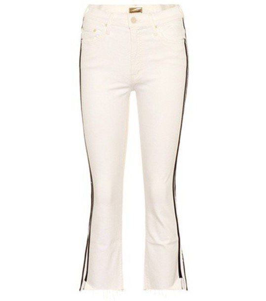 Mother The Insider Crop Step Fray jeans in white