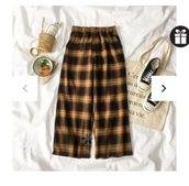 pants,black,plaid,orange,brown,oversized