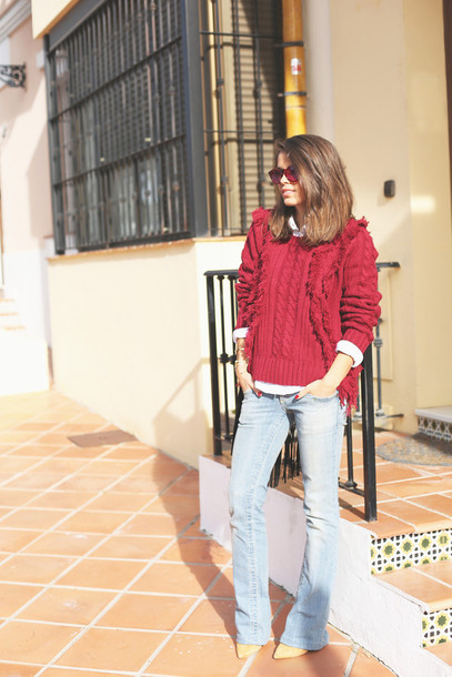 seams for a desire blogger jeans sunglasses cable knit red sweater