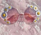 sunglasses,daisy,pink sunglasses,cute