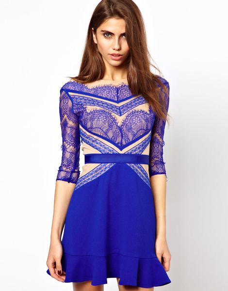 Shades of blue lace panel skater dress – glamzelle