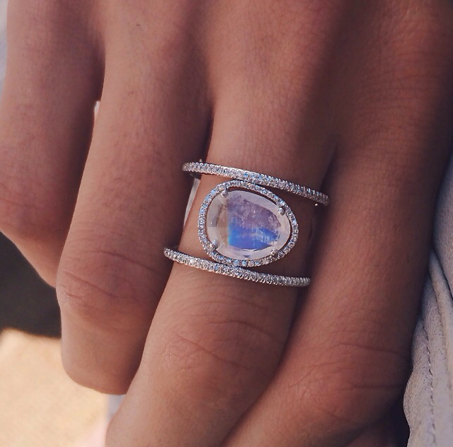 14kt rose gold and moonstone double band diamond ring