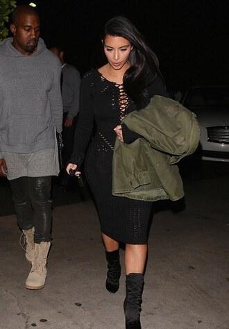 dress knitted kim kardashian boots balmain