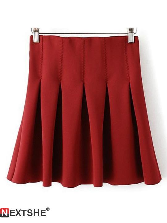 Red elastic waist pleated skirt