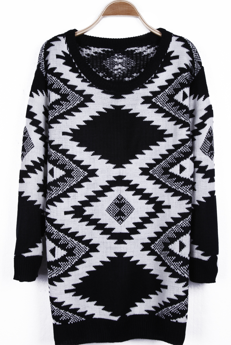 Black and white tribal geometric pattern long sleeve sweater