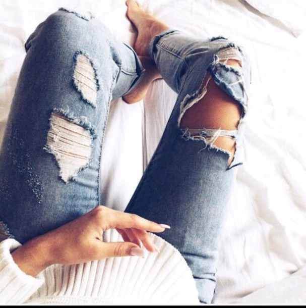 jeans blue jeans cutted jeans