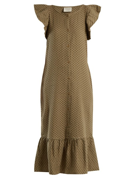 CECILIE COPENHAGEN dress jacquard cotton khaki