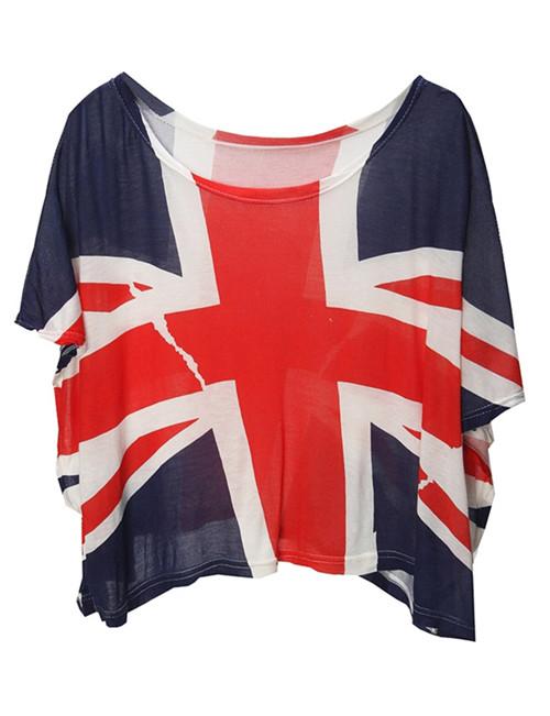 Blue the union flag print loose tshirt