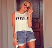 shirt,voila,french,cute,pretty,love,girly,classy,chic,erica mohn kvam,clothes,blogger,tank top,crop tops,bag,shorts,aurora mohn,top,vogueshirt,white,white crop tops,black