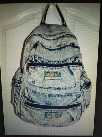 bag denim backpack acid wash