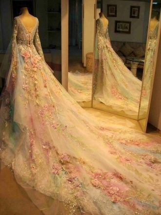 dress prom dress princess princess wedding dresses flowers embroidered embroidered dress fairy tale