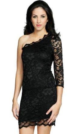 Amazon.com: john zack, stunning one shoulder lace dress, mini dress: clothing