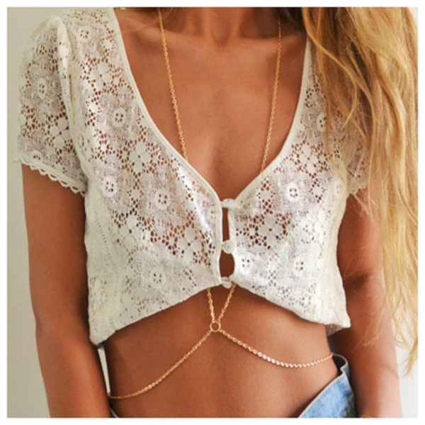 jewels body chain belly chain body chain necklace gold body chain waist chain blouse tank top