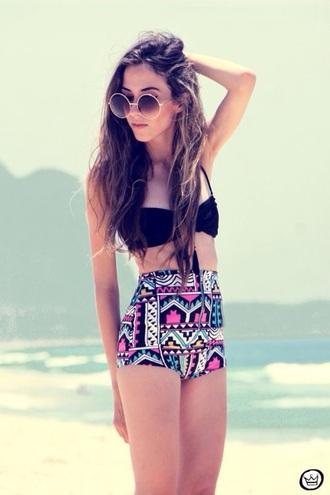 swimwear sunglasses high waisted bikini