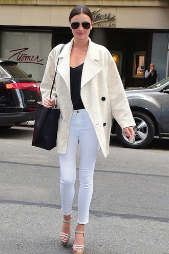 jumpsuit pants jeans white jeans miranda kerr wedges sandals jacket shoes