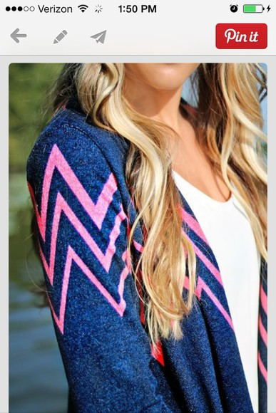 blue shirt sweater pink chevron cardigan