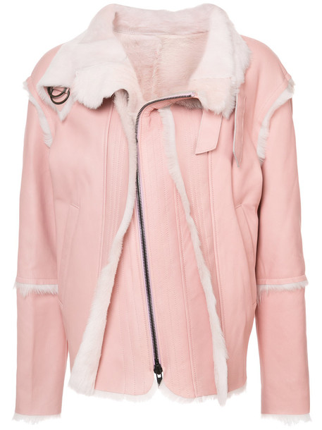jacket shearling jacket women purple pink