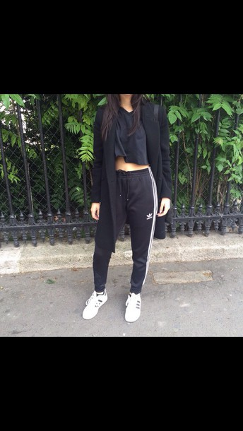 feddc463a pants adidas adidas tracksuit bottom black sweatpants white shoes classic  gold cute black high waisted pants