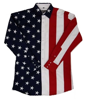 Mens Red White Blue American Flag Pearl Snap Western Shirt