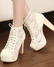 shoes,cream high heels,lacy,bootie,white high heels,sheer lacing up apricot pumps,white heels,cute,party,white shoes,lace,summer,evening outfits,high heels