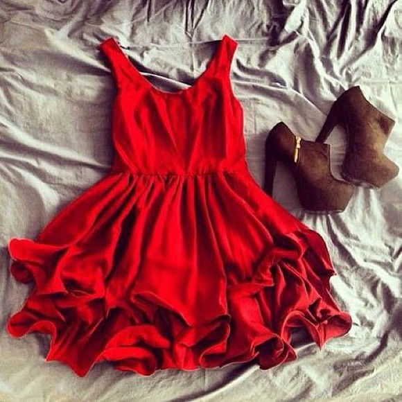 dress summer dress red dress red shoes heels cute dress