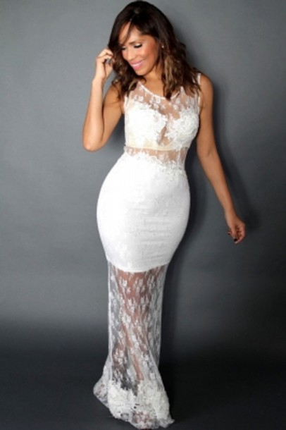 Dress Floral Lace White Party Sexy Chic Trendy Wots Hot