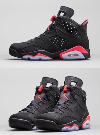 shoes jordans style red black sneakers