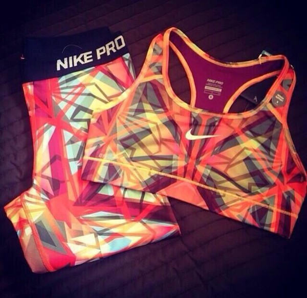 top nike sports bra sportswear spandex nike pro mosaic top just do it tights