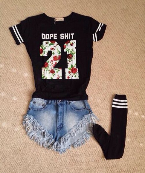 shirt high waisted short dope high knee socks