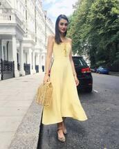dress,lace up dress,flats,midi dress,bag,summer dress