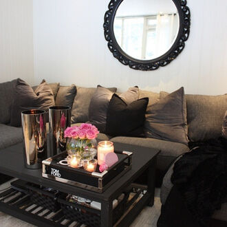 home accessory sofa black grey home decor idea mirror pink candle classy floral flowers furniture apartment
