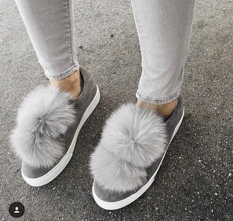 shoes grey fur fluffy ball slippers sneakers