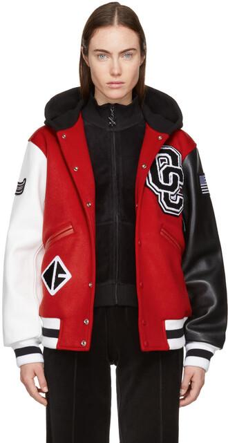 jacket bomber jacket varsity red