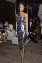 dress,kourtney kardashian,kardashians,celebrity,strapless,pumps,midi dress,silver,metallic