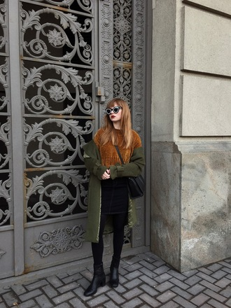 kristina magdalina blogger sunglasses sweater coat skirt bag shoes green coat winter outfits ankle boots crossbody bag
